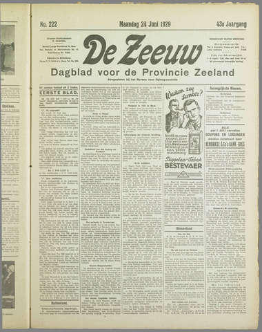 De Zeeuw. Christelijk-historisch nieuwsblad voor Zeeland 1929-06-24