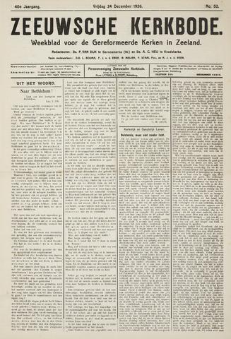 Zeeuwsche kerkbode, weekblad gewijd aan de belangen der gereformeerde kerken/ Zeeuwsch kerkblad 1926-12-24