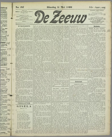 De Zeeuw. Christelijk-historisch nieuwsblad voor Zeeland 1920-05-11
