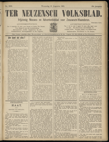 Ter Neuzensch Volksblad. Vrijzinnig nieuws- en advertentieblad voor Zeeuwsch- Vlaanderen / Zeeuwsch Nieuwsblad. Nieuws- en advertentieblad voor Zeeland 1911-08-15