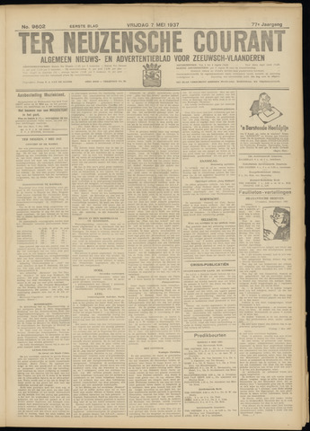 Ter Neuzensche Courant. Algemeen Nieuws- en Advertentieblad voor Zeeuwsch-Vlaanderen / Neuzensche Courant ... (idem) / (Algemeen) nieuws en advertentieblad voor Zeeuwsch-Vlaanderen 1937-05-07