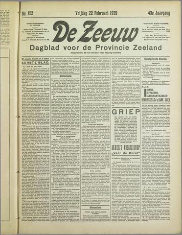 De Zeeuw. Christelijk-historisch nieuwsblad voor Zeeland 1929-02-22