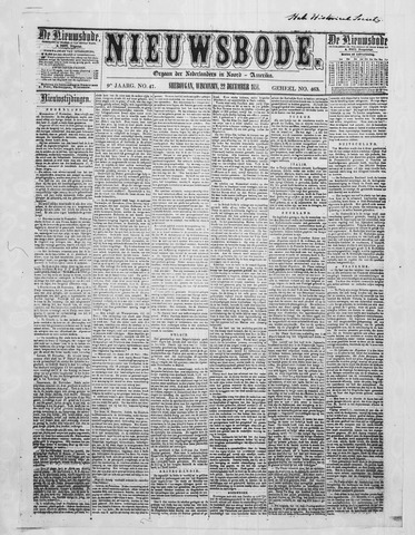Sheboygan Nieuwsbode 1858-12-22