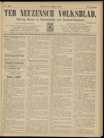Ter Neuzensch Volksblad. Vrijzinnig nieuws- en advertentieblad voor Zeeuwsch- Vlaanderen / Zeeuwsch Nieuwsblad. Nieuws- en advertentieblad voor Zeeland 1912-08-24