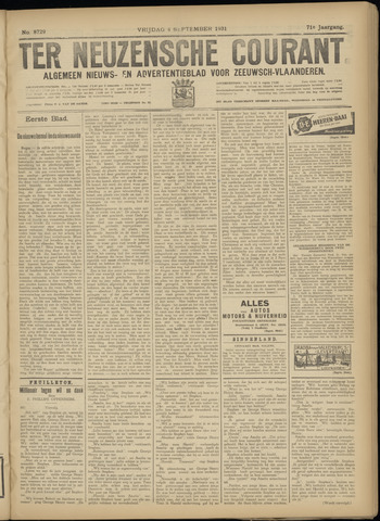 Ter Neuzensche Courant. Algemeen Nieuws- en Advertentieblad voor Zeeuwsch-Vlaanderen / Neuzensche Courant ... (idem) / (Algemeen) nieuws en advertentieblad voor Zeeuwsch-Vlaanderen 1931-09-04