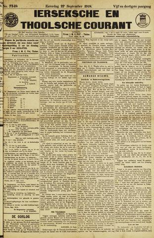 Ierseksche en Thoolsche Courant 1918-09-27
