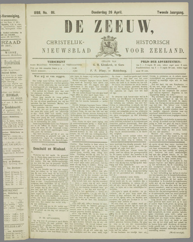 De Zeeuw. Christelijk-historisch nieuwsblad voor Zeeland 1888-04-26