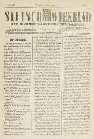 Sluisch Weekblad. Nieuws- en advertentieblad voor Westelijk Zeeuwsch-Vlaanderen 1873-12-19