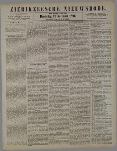Zierikzeesche Nieuwsbode 1891-11-26