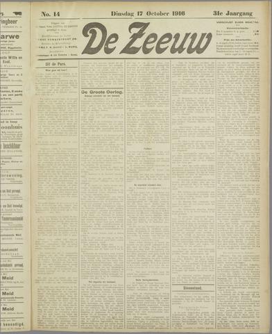 De Zeeuw. Christelijk-historisch nieuwsblad voor Zeeland 1916-10-17