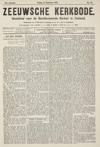 Zeeuwsche kerkbode, weekblad gewijd aan de belangen der gereformeerde kerken/ Zeeuwsch kerkblad 1925-11-27