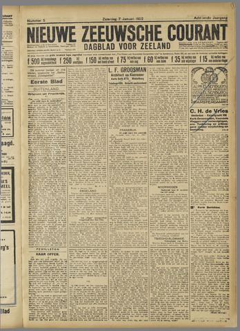 Nieuwe Zeeuwsche Courant 1922-01-07