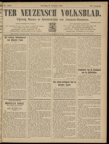 Ter Neuzensch Volksblad. Vrijzinnig nieuws- en advertentieblad voor Zeeuwsch- Vlaanderen / Zeeuwsch Nieuwsblad. Nieuws- en advertentieblad voor Zeeland 1914-02-21