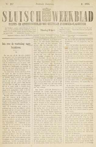Sluisch Weekblad. Nieuws- en advertentieblad voor Westelijk Zeeuwsch-Vlaanderen 1875-04-06
