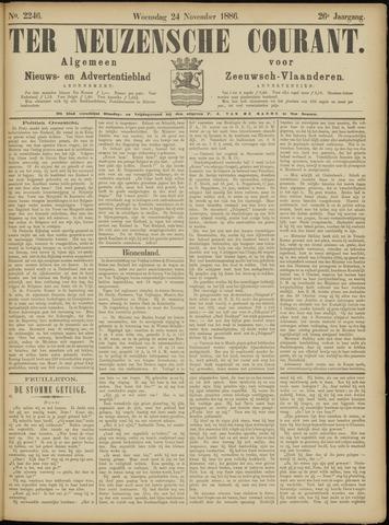 Ter Neuzensche Courant. Algemeen Nieuws- en Advertentieblad voor Zeeuwsch-Vlaanderen / Neuzensche Courant ... (idem) / (Algemeen) nieuws en advertentieblad voor Zeeuwsch-Vlaanderen 1886-11-24