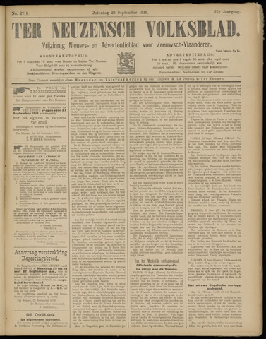 Ter Neuzensch Volksblad. Vrijzinnig nieuws- en advertentieblad voor Zeeuwsch- Vlaanderen / Zeeuwsch Nieuwsblad. Nieuws- en advertentieblad voor Zeeland 1916-09-23