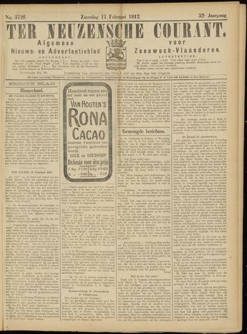 Ter Neuzensche Courant. Algemeen Nieuws- en Advertentieblad voor Zeeuwsch-Vlaanderen / Neuzensche Courant ... (idem) / (Algemeen) nieuws en advertentieblad voor Zeeuwsch-Vlaanderen 1912-02-17