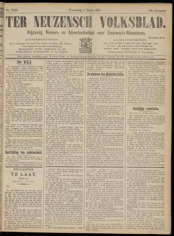 Ter Neuzensch Volksblad. Vrijzinnig nieuws- en advertentieblad voor Zeeuwsch- Vlaanderen / Zeeuwsch Nieuwsblad. Nieuws- en advertentieblad voor Zeeland 1911-03-01