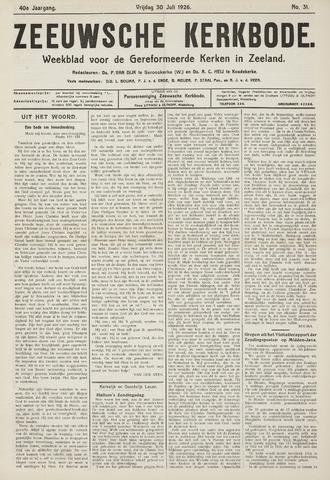 Zeeuwsche kerkbode, weekblad gewijd aan de belangen der gereformeerde kerken/ Zeeuwsch kerkblad 1926-07-30
