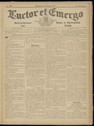 Luctor et Emergo. Antirevolutionair nieuws- en advertentieblad voor Zeeland / Zeeuwsch-Vlaanderen. Orgaan ter verspreiding van de christelijke beginselen in Zeeuwsch-Vlaanderen 1917-02-10