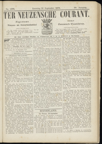 Ter Neuzensche Courant. Algemeen Nieuws- en Advertentieblad voor Zeeuwsch-Vlaanderen / Neuzensche Courant ... (idem) / (Algemeen) nieuws en advertentieblad voor Zeeuwsch-Vlaanderen 1878-09-21