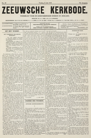 Zeeuwsche kerkbode, weekblad gewijd aan de belangen der gereformeerde kerken/ Zeeuwsch kerkblad 1939-07-21