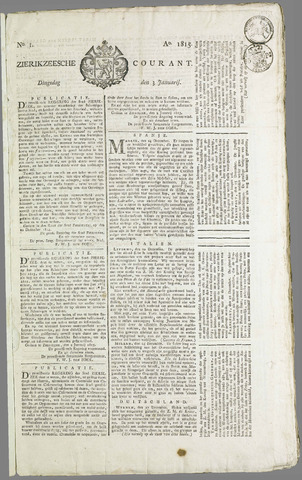 Zierikzeesche Courant 1815