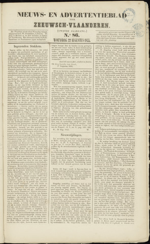 Ter Neuzensche Courant. Algemeen Nieuws- en Advertentieblad voor Zeeuwsch-Vlaanderen / Neuzensche Courant ... (idem) / (Algemeen) nieuws en advertentieblad voor Zeeuwsch-Vlaanderen 1855-08-22