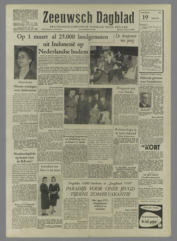 Zeeuwsch Dagblad 1958-02-19