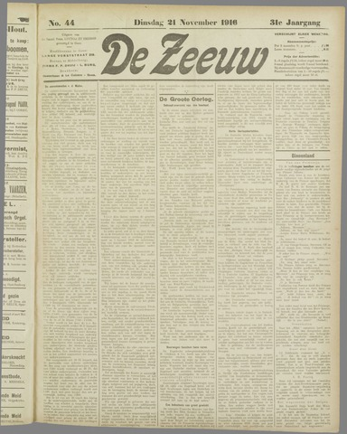De Zeeuw. Christelijk-historisch nieuwsblad voor Zeeland 1916-11-21