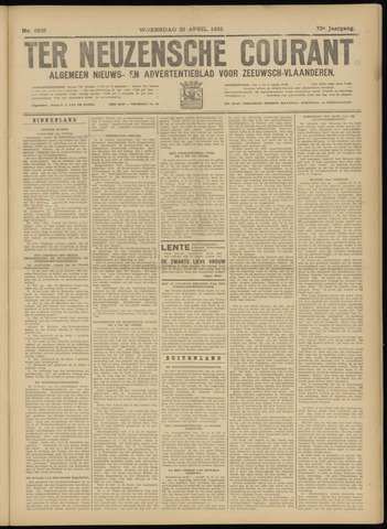 Ter Neuzensche Courant. Algemeen Nieuws- en Advertentieblad voor Zeeuwsch-Vlaanderen / Neuzensche Courant ... (idem) / (Algemeen) nieuws en advertentieblad voor Zeeuwsch-Vlaanderen 1932-04-20