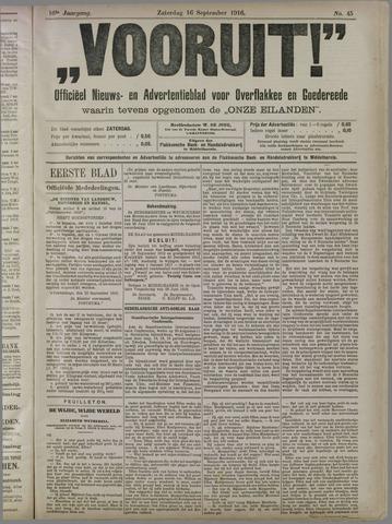 """""""Vooruit!""""Officieel Nieuws- en Advertentieblad voor Overflakkee en Goedereede 1916-09-16"""
