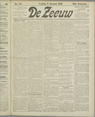 De Zeeuw. Christelijk-historisch nieuwsblad voor Zeeland 1916-01-07