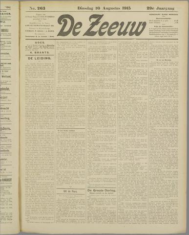 De Zeeuw. Christelijk-historisch nieuwsblad voor Zeeland 1915-08-10
