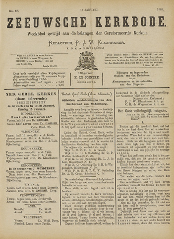 Zeeuwsche kerkbode, weekblad gewijd aan de belangen der gereformeerde kerken/ Zeeuwsch kerkblad 1888-01-14