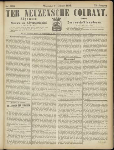 Ter Neuzensche Courant. Algemeen Nieuws- en Advertentieblad voor Zeeuwsch-Vlaanderen / Neuzensche Courant ... (idem) / (Algemeen) nieuws en advertentieblad voor Zeeuwsch-Vlaanderen 1893-10-11