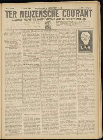 Ter Neuzensche Courant. Algemeen Nieuws- en Advertentieblad voor Zeeuwsch-Vlaanderen / Neuzensche Courant ... (idem) / (Algemeen) nieuws en advertentieblad voor Zeeuwsch-Vlaanderen 1936-12-02
