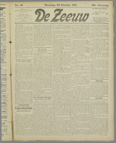 De Zeeuw. Christelijk-historisch nieuwsblad voor Zeeland 1917-10-22