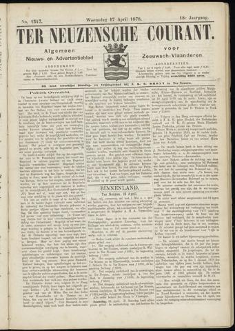 Ter Neuzensche Courant. Algemeen Nieuws- en Advertentieblad voor Zeeuwsch-Vlaanderen / Neuzensche Courant ... (idem) / (Algemeen) nieuws en advertentieblad voor Zeeuwsch-Vlaanderen 1878-04-17