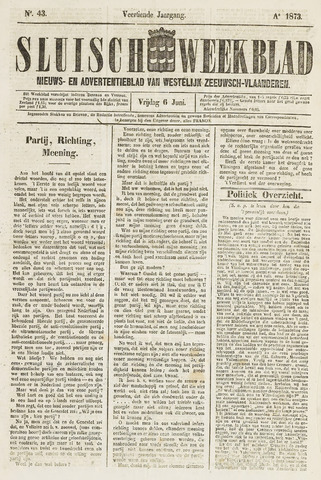 Sluisch Weekblad. Nieuws- en advertentieblad voor Westelijk Zeeuwsch-Vlaanderen 1873-06-06