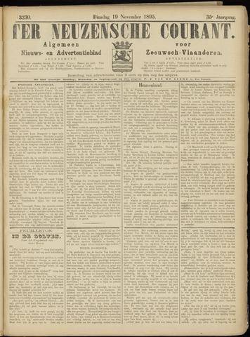 Ter Neuzensche Courant. Algemeen Nieuws- en Advertentieblad voor Zeeuwsch-Vlaanderen / Neuzensche Courant ... (idem) / (Algemeen) nieuws en advertentieblad voor Zeeuwsch-Vlaanderen 1895-11-19