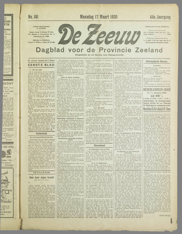De Zeeuw. Christelijk-historisch nieuwsblad voor Zeeland 1930-03-17