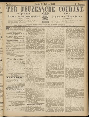 Ter Neuzensche Courant. Algemeen Nieuws- en Advertentieblad voor Zeeuwsch-Vlaanderen / Neuzensche Courant ... (idem) / (Algemeen) nieuws en advertentieblad voor Zeeuwsch-Vlaanderen 1911-02-21