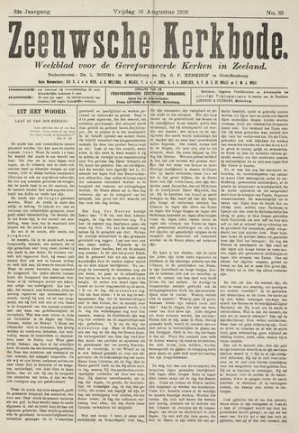 Zeeuwsche kerkbode, weekblad gewijd aan de belangen der gereformeerde kerken/ Zeeuwsch kerkblad 1918-08-16