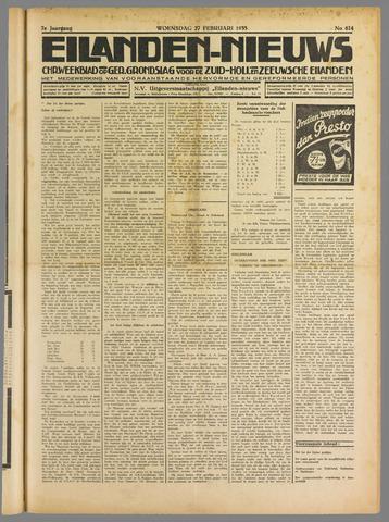 Eilanden-nieuws. Christelijk streekblad op gereformeerde grondslag 1935-02-27