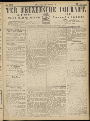 Ter Neuzensche Courant. Algemeen Nieuws- en Advertentieblad voor Zeeuwsch-Vlaanderen / Neuzensche Courant ... (idem) / (Algemeen) nieuws en advertentieblad voor Zeeuwsch-Vlaanderen 1911-01-26