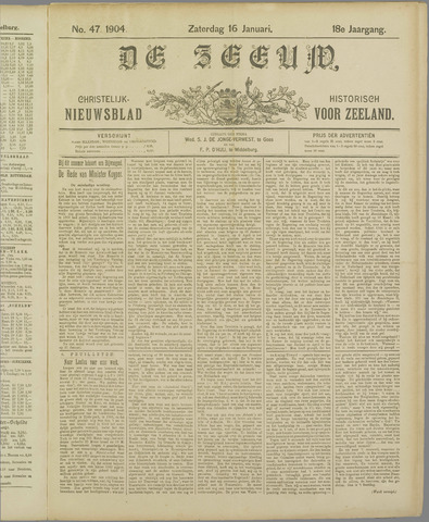 De Zeeuw. Christelijk-historisch nieuwsblad voor Zeeland 1904-01-16