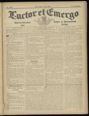 Luctor et Emergo. Antirevolutionair nieuws- en advertentieblad voor Zeeland / Zeeuwsch-Vlaanderen. Orgaan ter verspreiding van de christelijke beginselen in Zeeuwsch-Vlaanderen 1916-05-03