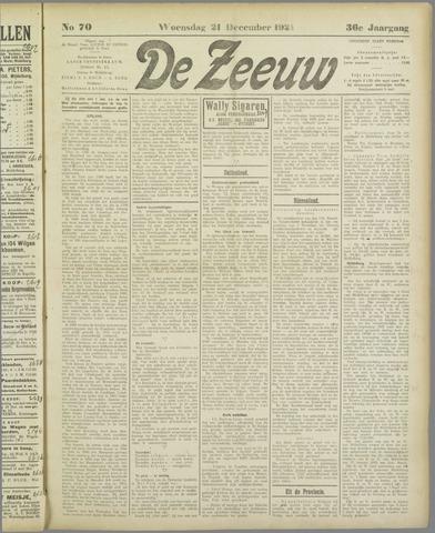 De Zeeuw. Christelijk-historisch nieuwsblad voor Zeeland 1921-12-21