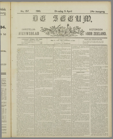De Zeeuw. Christelijk-historisch nieuwsblad voor Zeeland 1910-04-05